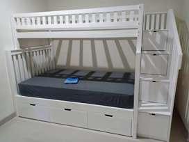 Tempat tidur tingkat kayu jati akasia bahan dan finising bisa riques