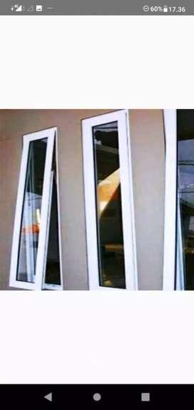 Jendela kaca Aluminium warna putih siap antar