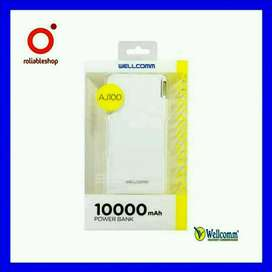 Wellcomm - Power Bank 10000 mAh Double Usb Port + Proteksi Ganda