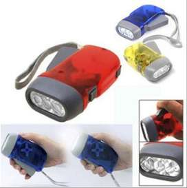 Senter Pompa Hand Press Flashlight