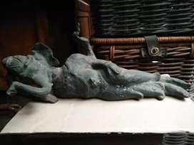 Patung perunggu Ganesha tidur santai unik antik