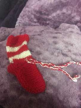 Hand knit wollen socks for kids