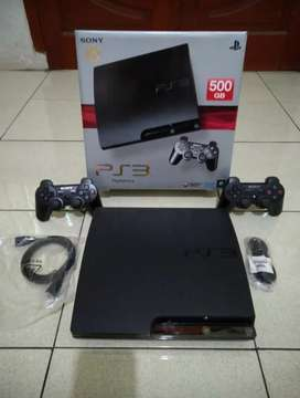 PS3 Slim 500GB Fulset Dus 2 stik lkp full 50 game lebih mantap pisan
