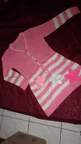 Dress rajut pink lengan panjang