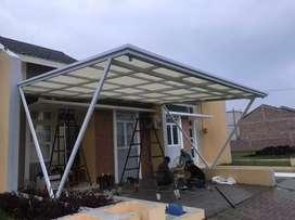 Kanopi minimalis rangka hollow atap alderon spandek kaca solarflat dll