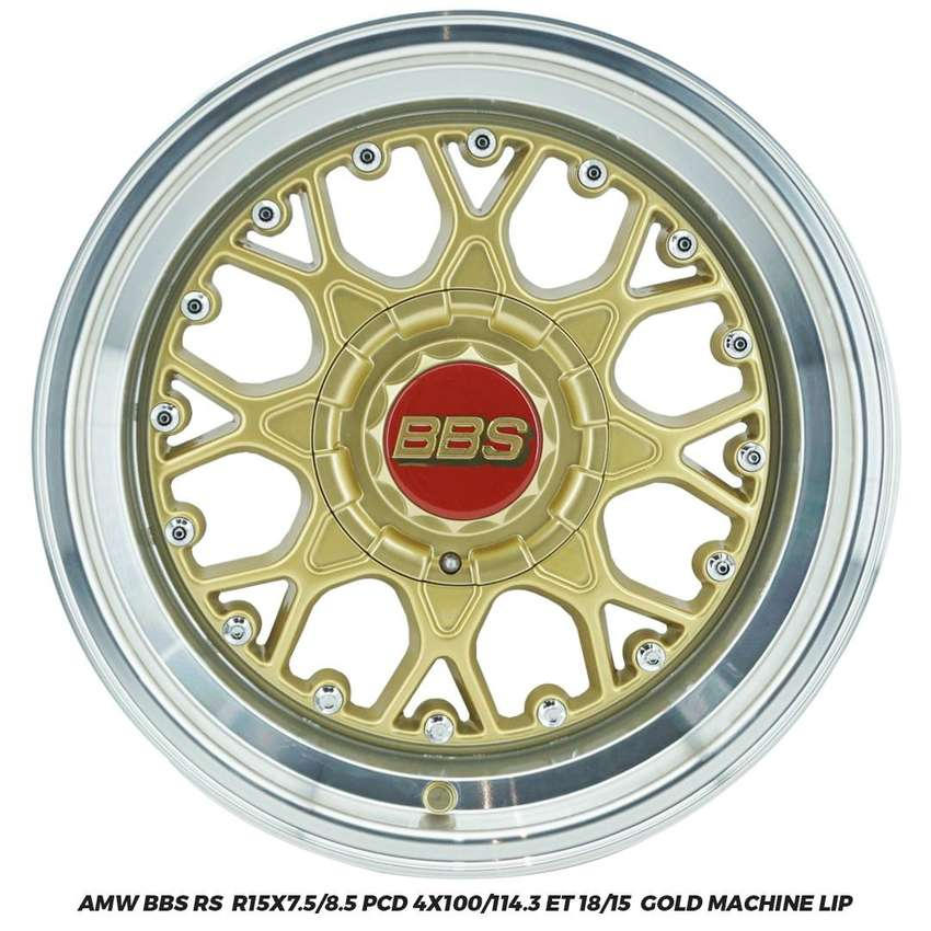 Velg Jazz Brio Yaris Agya  AMW BBS RS R15x7.5/8.5 4x100 114.3 ET 18/15