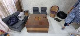 Square wooden Centre table with 4 sofa puffy