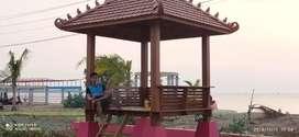 Gazebo kayu jati solid ukuran 200x200 cm