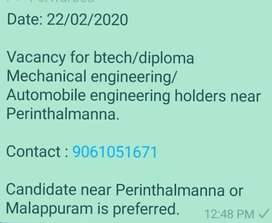 Looking for btech/diploma holders(Mech/Auto)