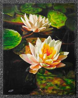 Water lily oil painting