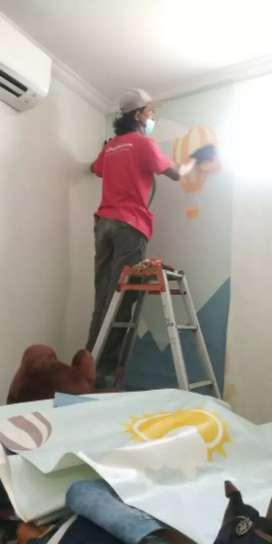Jasa pasang wallpaper / wallpaper custom/sticker cutting/sunblast