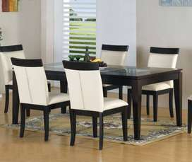 New Modern Dining Table 6 chairs Full cushioned Master Molty Foam