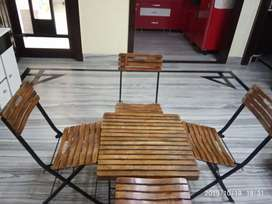 Foldable wooden Chairs With Table