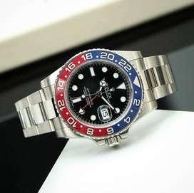 Jam Tangan Rolex GMT Master II Pepsi Swiss Otomatis Mewah Lengkap Box