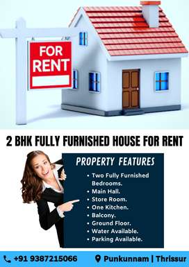2 BHK Fully Furnished House for Rent at Punkunnam, Thrissur