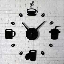 Jam Dinding Besar Akrilik Mug Cangkir Kopi/Cafe Coffee DIY Wall Clock