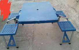 Folding table & chair set for outdoor picnic trips etc