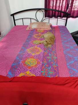 Queen size steel bed and mattress for sale