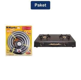 Miyako Kompor Gas 2 Tungku + Miyako Selang Paket Spiral