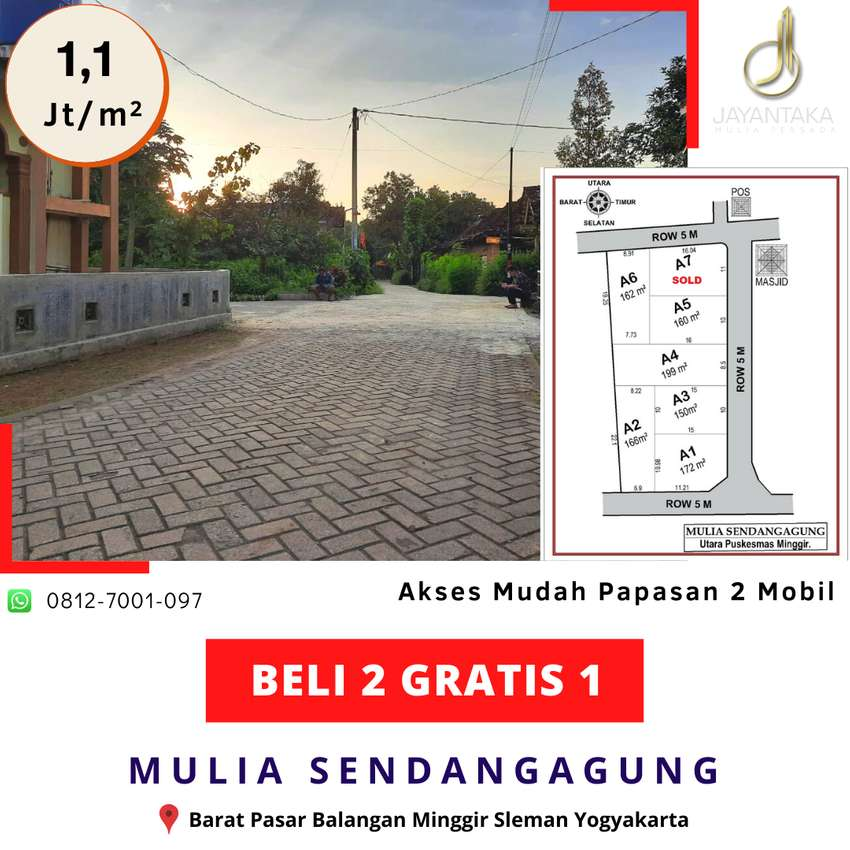 BELI 2 GRATIS 1 Tanah Murah Sleman Barat Pasar Balangan