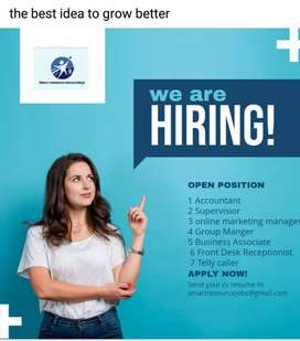 Front office executive, graphic designer, online marketing manager