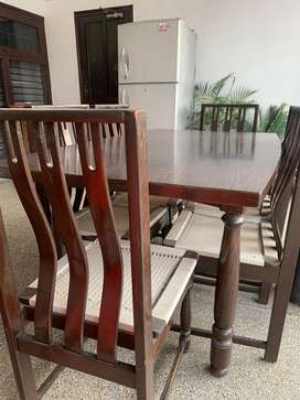 6 seater genuine teak wood dining table