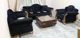Sofa Set 6 Seater Golden Fabric