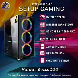 PC Rakitan Gaming Ryzen 3 3200G RAM 8GB Kit SSD 240GB Ready