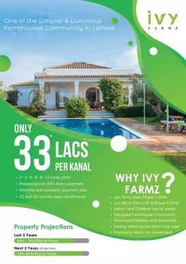 Farmhouse Land is available on installments at Barki Road