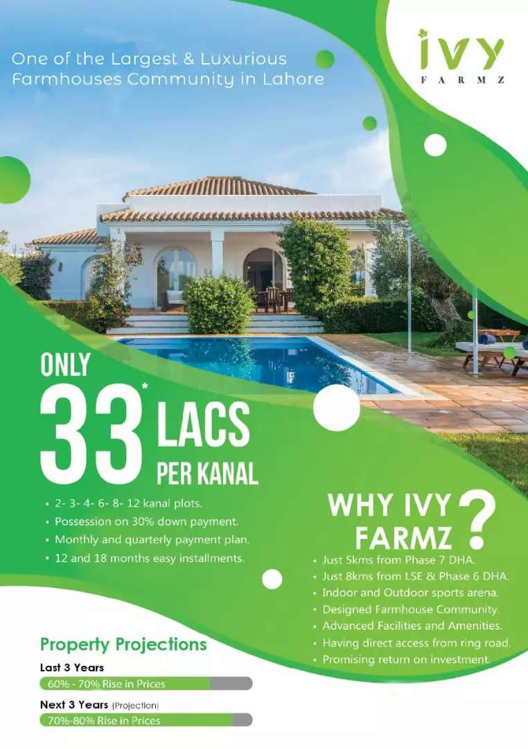 Farmhouse Land is available on installments at Barki Road 0