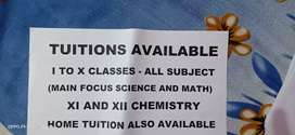 Tuition available 1 to 10 all subjects, 12 only chemistry