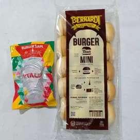 Paket Roti Burger mini bernardi dan beef burger vitalia harga 30rb