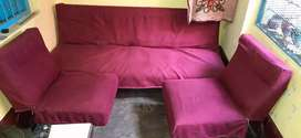 Urgent sell due to shifting, Good condition leather foam sofa cum bed
