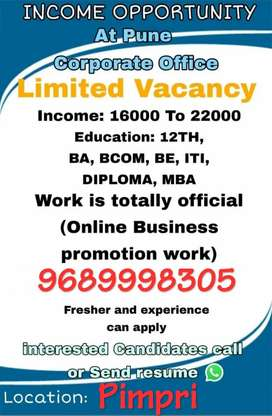 Vacancy Available For Official Working