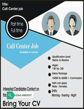 Call Center jobs in Lahore for girls
