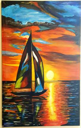 Lonely Yacht Painting for Sale