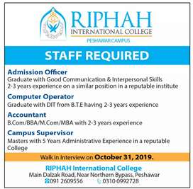 Jobs at Riphah internarional college Peshawar