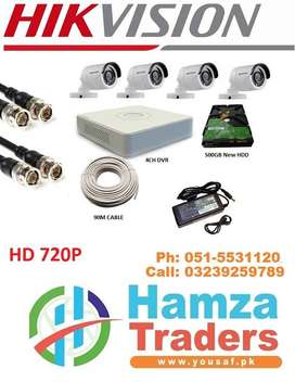 hikvision 4ch cctv camera system 500gb hard disk with installation