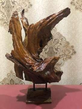 pajangan kayu akar jati cat laquer
