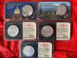 4 buah Coin Silver American Eagle dan 1 buah Mexican Silver Libertad