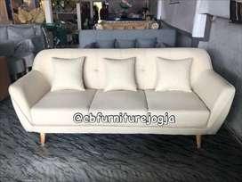 sofa tamu Scandinavian baru, pilih kain
