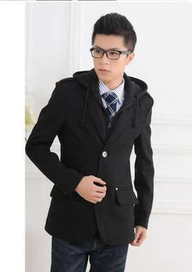 Blazer Casual with Hoodie Black Style – SK114
