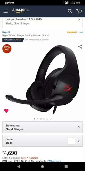 HyperX Cloud Stinger Gaming Headset Purchased On 14 October