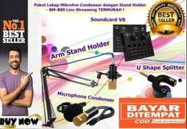 Paket Lengkap Home Recording Murah Mic BM800 Stand Arm Soundcard V8 Ba