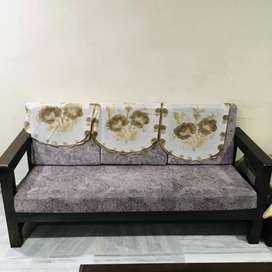 3+1+1 teak wook sofa with center table and sofa cloth