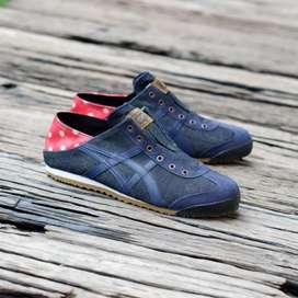 Sepatu onitsuka tiger slip on denim red original