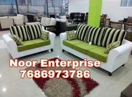 White an sea green leatherite box hata sofa premium quality