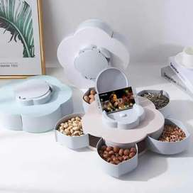 Stylish Rotating Dry Fruit Box with mobile holder Flower Style