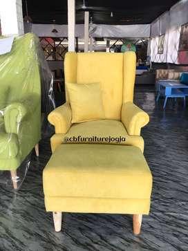 sofa wingchair custome dengan  . puff