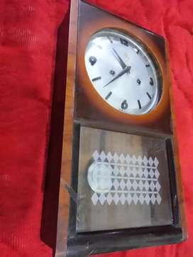 Antique brass wooden box wall clock pendulum vintage classic